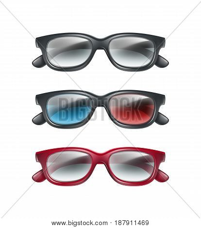 Vector set of black plastic 3d glasses top view isolated on gray background
