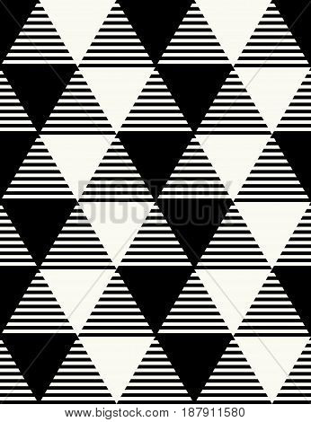 Vector Seamless Pattern. Modern Stylish Monochrome Geometric Background With Structure Of Differentl