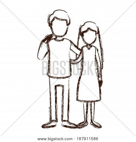 blurred silhouette full body woman with long hair in dress and man embracing couple vector illustration