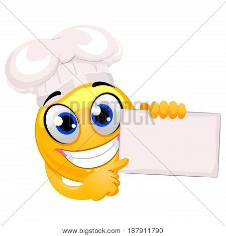 Vector Illustration of Smiley Emoticon wearing Chef hat holding a Blank Board