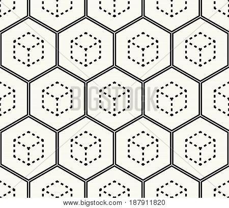 Modern Stylish Monochrome Hexagonal Background With Structure Of Repeating Cubes With Dashed Outline
