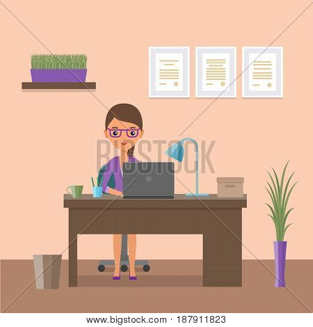 Business woman sitting at desk. Flat people icon. Design workspace or home workplace with cartoon animated female character. Office interior and furniture. Vector illustration.