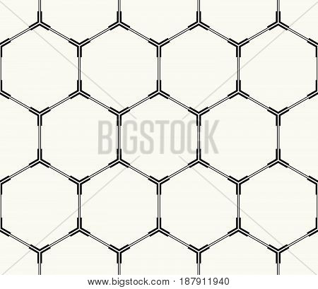 Vector Seamless Pattern. Modern Stylish Monochrome Technological Background With Structure Of Repeat