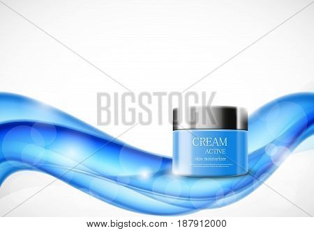 Skin moisturizer cosmetic ads template with blue realistic package on soft dynamic wavy bright lines background. Vector illustration