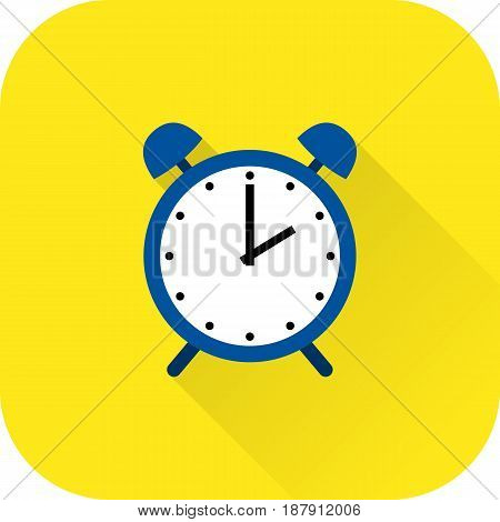 Alarm clock icon. Vector. Flat design with long shadow. Blue time symbol isolated on yellow background.