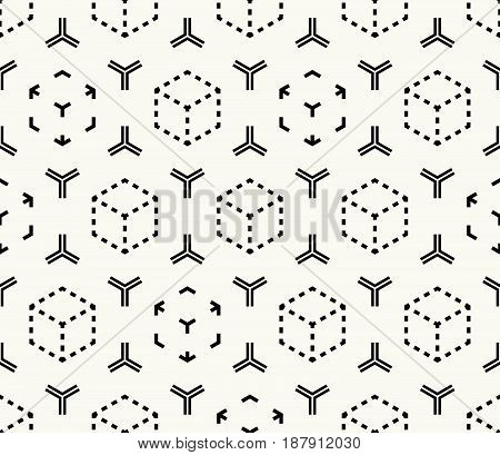 Vector seamless pattern. Modern stylish monochrome abstract geometric texture with structure of repeating cubes and hexagonal elements.