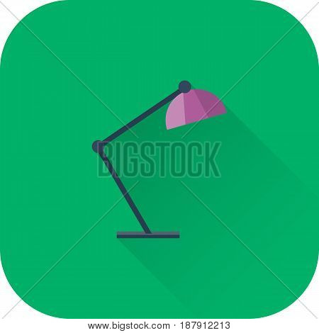 Table lamp icon. Vector. Flat design with long shadow. Purple lamp symbol isolated on green background.