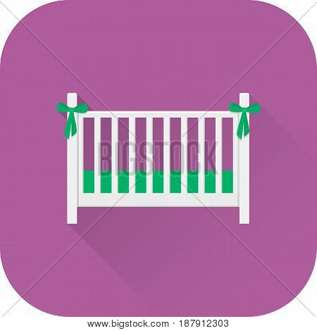 Crib icon. Vector. Flat design with long shadow. White cot isolated on purple background. Furniture for baby bedroom.