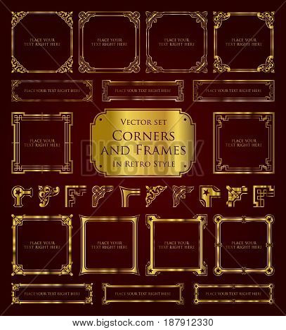 Golden retro frames, corners and calligraphic design elements