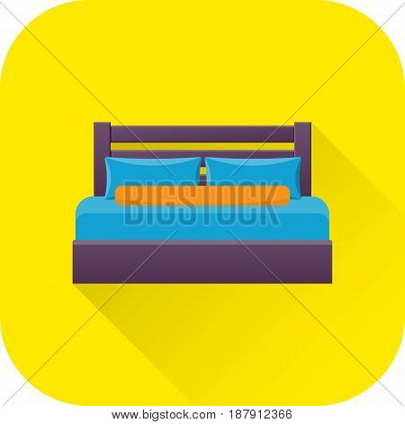 Double bed icon. Vector. Flat design with long shadow. Bed symbol isolated on yellow background. Furniture for bedroom.