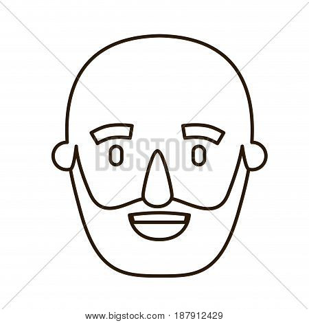 sketch contour caricature old bald man bearded vector illustration