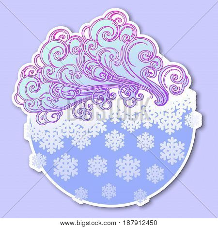 Fairytale style winter festive sticker. Curly ornate clouds with a falling snowflakes. Weather forecast icon. Christmas mood. Pastel palette. EPS10 vector illustration