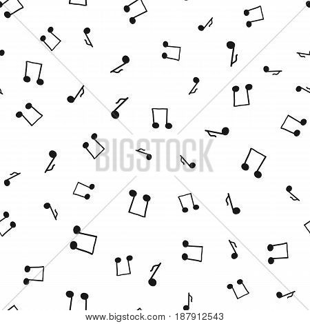 Silhouette notes drawn by hand. Musical seamless pattern. Randomly scattered elements black isolated on white background. Sketch doodle. Vector illustration.