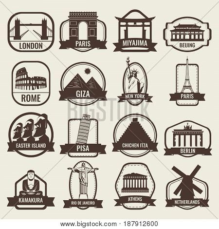 Travel badges and labels. World famous landmarks. Travel and Tourism concept. Vector illustration