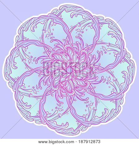 Decorative sticker. Retro style curly decorative water currents. Mandala tattoo. Decorative element for tattoo textile prints or greeting card design. EPS10 vector illustration