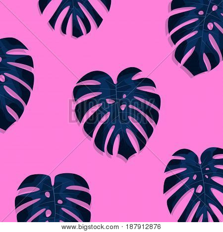 Exotic tropical palm leaves. Monstera leaves on millenial pink background. Exotic pattern.