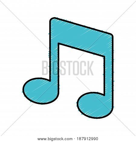 musical note icon over white background. vector illustration