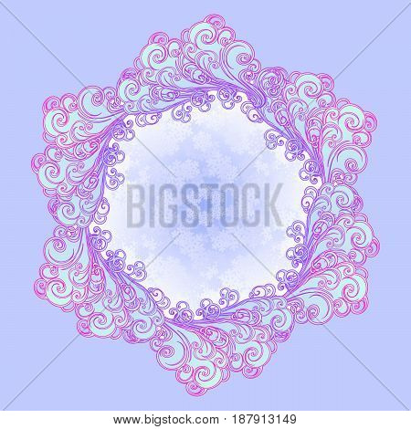 Decorative sticker. Retro style curly decorative cloud with rain drops. Mandala tattoo. Decorative element for tattoo textile prints or greeting card design. EPS10 vector illustration
