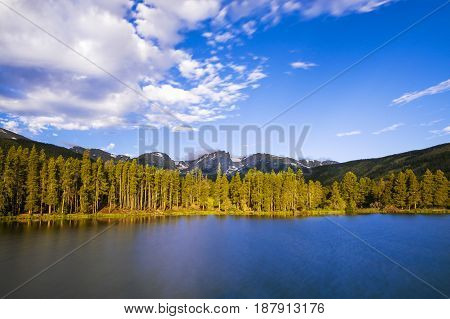 Beautiful view of the Bear Lake in the Rocky Mountains National Park in the State of Colorado USA