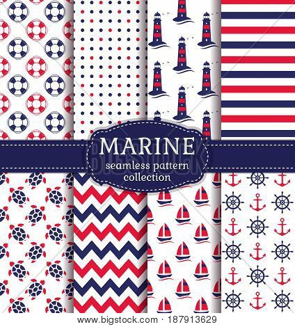 Set of marine and nautical backgrounds in navy blue red and white colors. Sea theme. Cute colorful seamless patterns collection. Vector illustration.