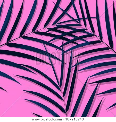 Exotic leaves background. Botanical leaves on millenial pink background. Exotic background.