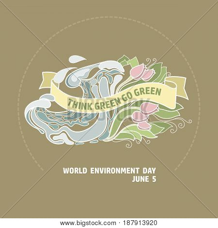World environment day vector card. Think green go green. Eco  concept.  Hand drawing illustration.
