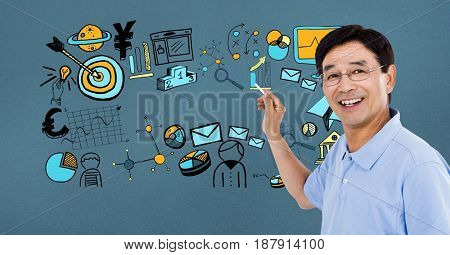 Digital composite of Happy businessman drawing graphics on screen