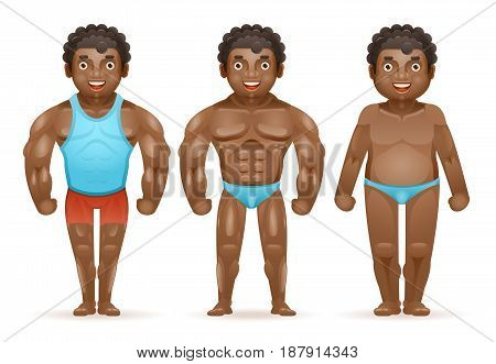 Weight loss afroamerican bodybuilder muscular fat man before after sports happy characters isolated cartoon design vector illustration