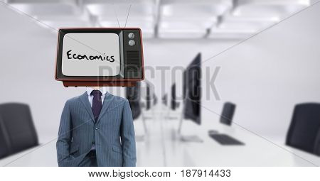 Digital composite of Businessman wearing TV on head with economics text on screen