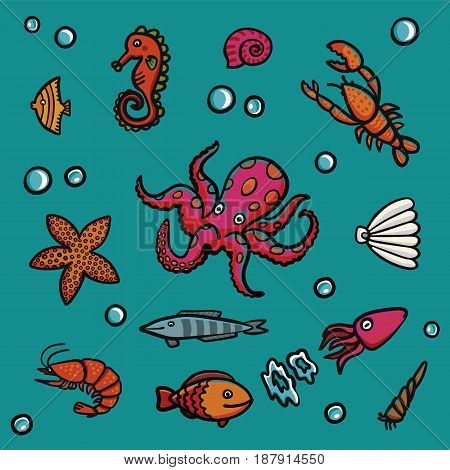 Marine life in cartoon style on a blue background. Lobster, shrimps, snails, sea cabbage etc. Hand-drawn illustration set.
