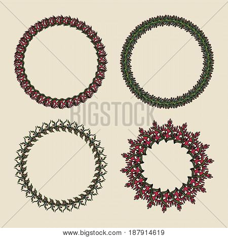 Handdrawn vector wreaths. Round botanical ornament on a green background. Design elements for invitations, greeting cards, logos