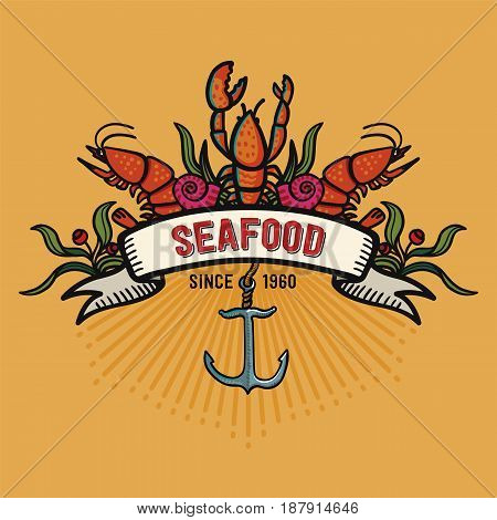 Seafood in cartoon style. Restaurant logo with lobster, shrimps snails, sea cabbage and anchor. Hand-drawn illustration on a yellow background