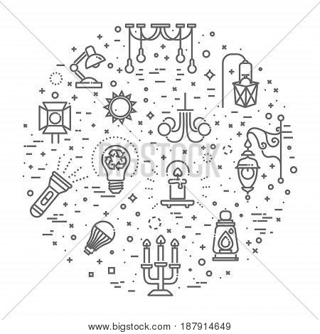 Outline Lamp Icon Set - Vector Graphics. llumination