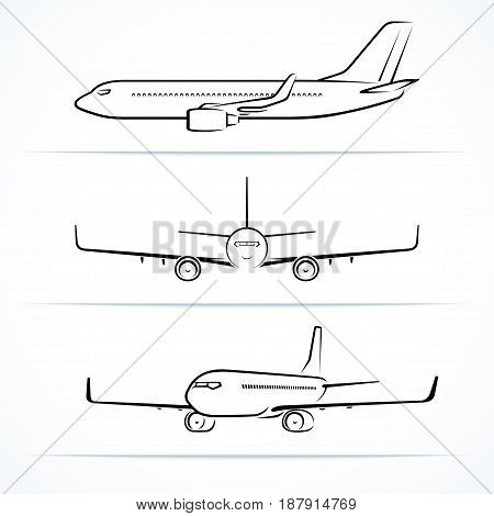 Passenger airplane silhouettes, contours, outlines. Side, front, three quarter view of modern jet aircraft in flight. Vector illustration