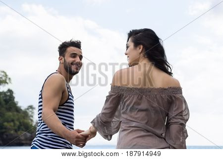 Couple Walking Summer Vacation, People Beautiful Young Happy Man And Woman Smile Blue Sky Holiday Travel