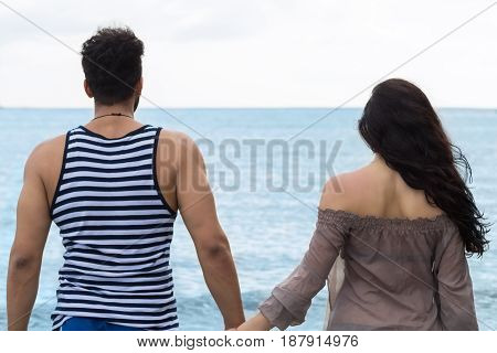 Couple Walking Summer Vacation, People Beautiful Young Happy Man And Woman Back Rear View Blue Sky Holiday Travel
