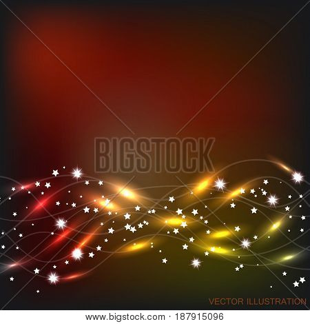Abstract waves background. Bright vector illustration in red and yellow colors.