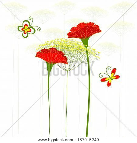 Red Carnation Flower Dandelion and Butterfly Background
