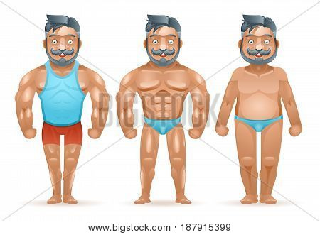 Before after sports weight loss bodybuilder muscular fat man happy characters isolated 3d design cartoon vector illustration