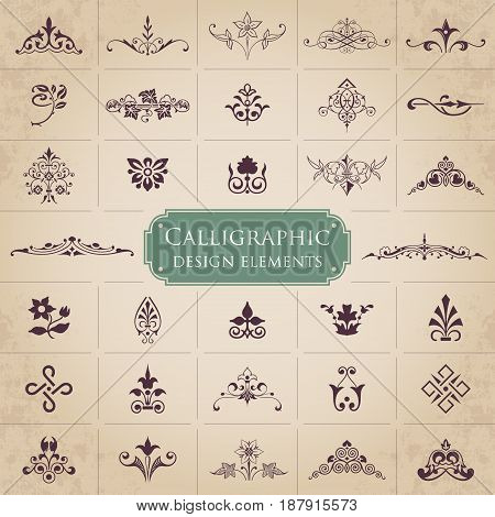 Large collection of ornate calligraphic design elements - vector set