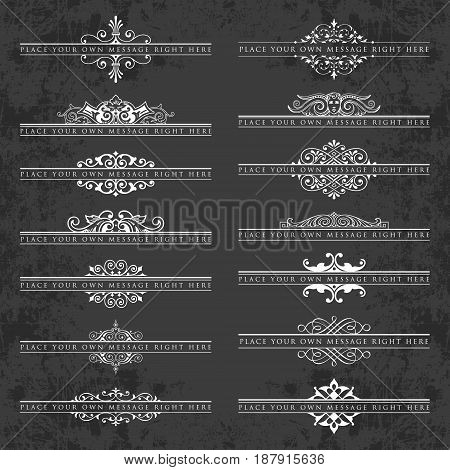 Large collection of ornate headpieces on a chalkboard background