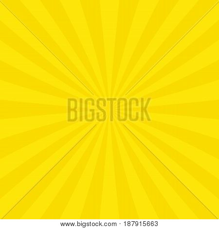 Yellow abstract sun burst background from radial stripes - vector graphic