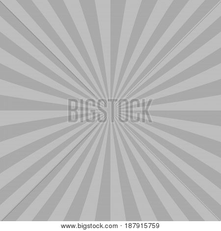Grey abstract sun burst background from radial stripes - vector graphic