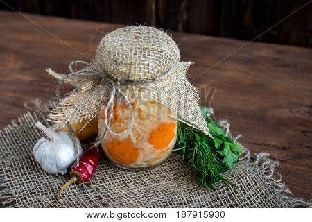 Sauerkraut With Carrot In A Glass Jar