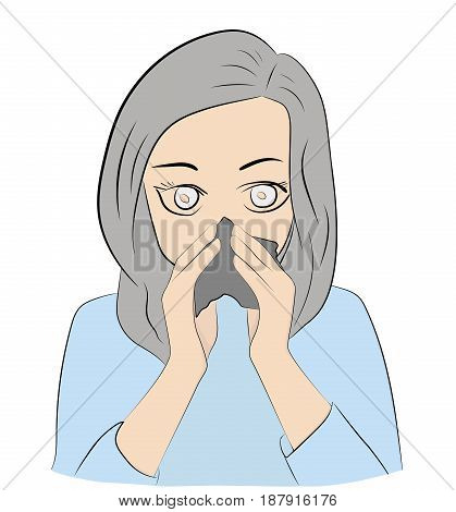 A girl with a handkerchief closes from a cold and allergies. Hand drawn cartoon vector illustration for medical design and infographics.