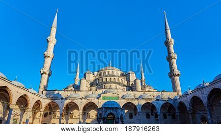 The Blue Mosque also called Sultan Ahmed Mosque or Sultan Ahmet Mosque in Istanbul, Turkey.