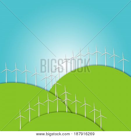 Green concept - wind energy. Winds generators - illustration.  Alternative power energy technology. Green energy technologies.