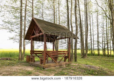 A Gazebo To Relax In The Spring Forest