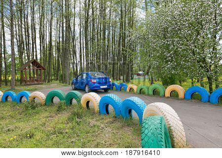 Slutsk, Belarus - May 20, 2017: The Car Is Parked In A Parking Lot In A Place For Rest