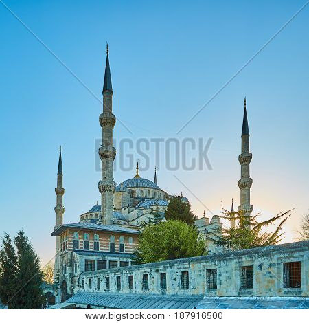 The Blue Mosque also called Sultan Ahmed Mosque or Sultan Ahmet Mosque in Istanbul Turkey.